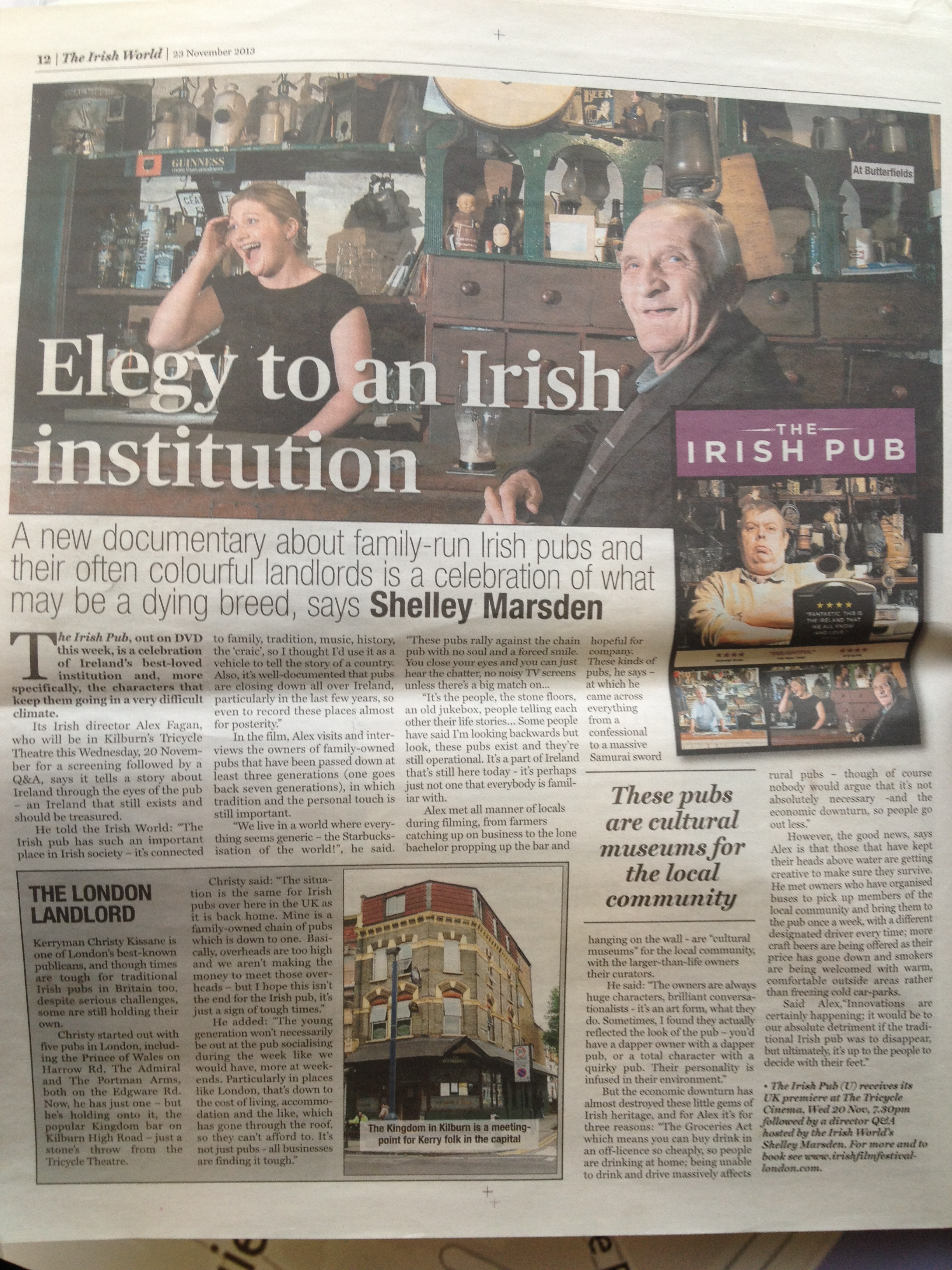 Irish World Feature on The Irish Pub