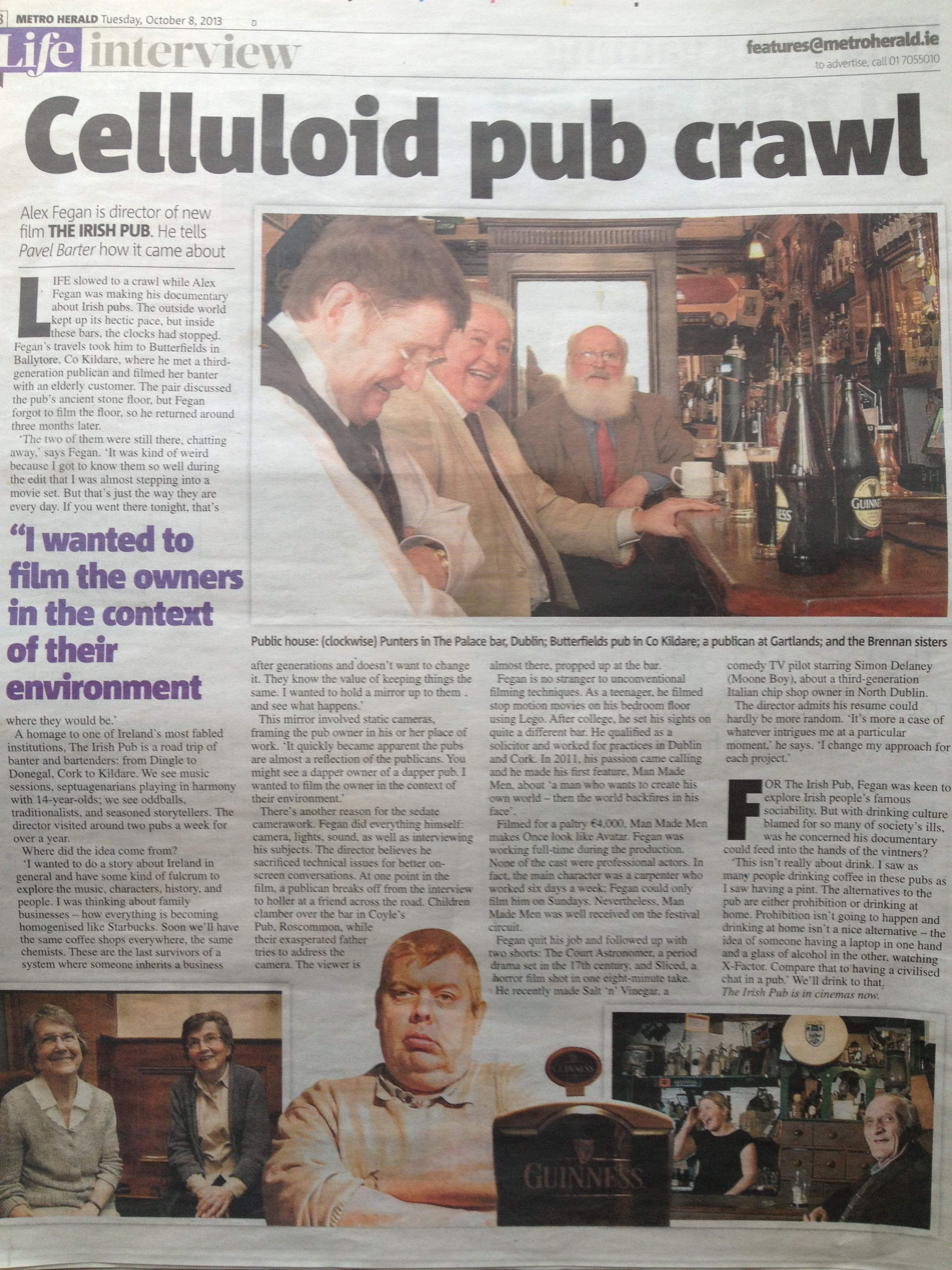 Metro feature on The Irish Pub